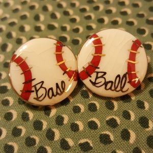 Vintage Baseball Stud Earnings